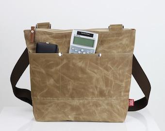 Waxed Tote Bag, Long Cotton Strap, Shoulder or Crossbody Bag, Fully Lined, Waterproof,  Pocket Bag, Zipper Closure, Silver Metal Accessories