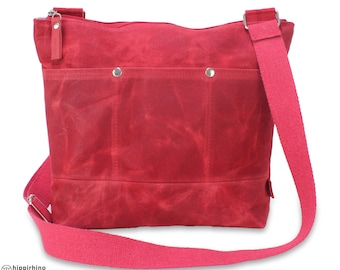 Waxed Tote Bag, Long Webbing Cotton Strap, Shoulder Crossbody Bag, Fully Cotton Lined, Waterproof,  Outter Pocket Bag Zipper Closure Stylish