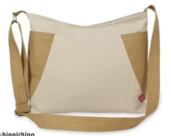 Two-Color Hobo Bag Large Side Pockets Shoulder Crossbody Bag Handmade Cotton Canvas Vegan Washable Zippered Traveler Classy Roomy Weekender