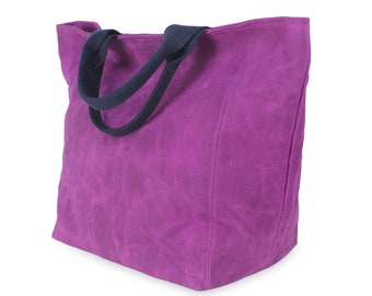 Purple Waxed Large Canvas Reusable Grocery Bag Cotton Webbing Handle Deep Durable Carry-All Bag Shopping Market Daily Tote Bag Hard Bag Base