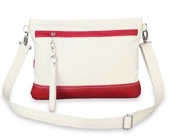 Natural Cotton Crossbody Wristlet Clutch Eco-Friendly Vegan Faux Leather Bag Phone Tablet Case Detachable Strap Unbleached Raw Canvas Fabric