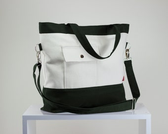 Military Green White Fully Lined Two Tone Bag Extra Large Bag Mommy Eco Friendly Bag Shopping Bag Washable Bag Laptop Bag Best Gift idea