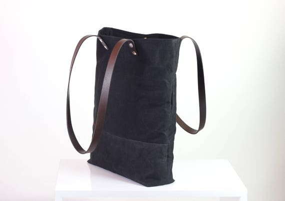 0ee1194fd85a Black waxed canvas tote bag with leather strap shoulder use
