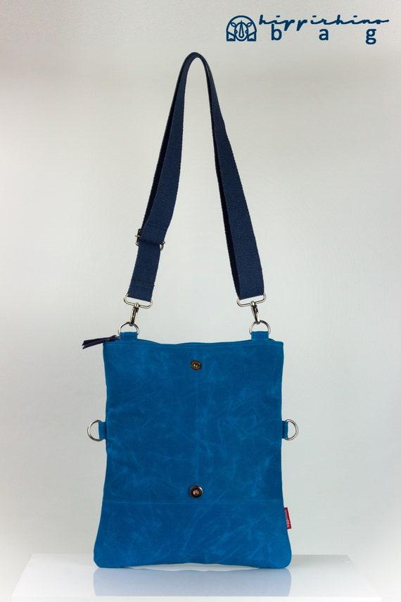 c01b275e40c7 Small Blue Waxed Foldover Tote Bag Dual-Use Cotton or