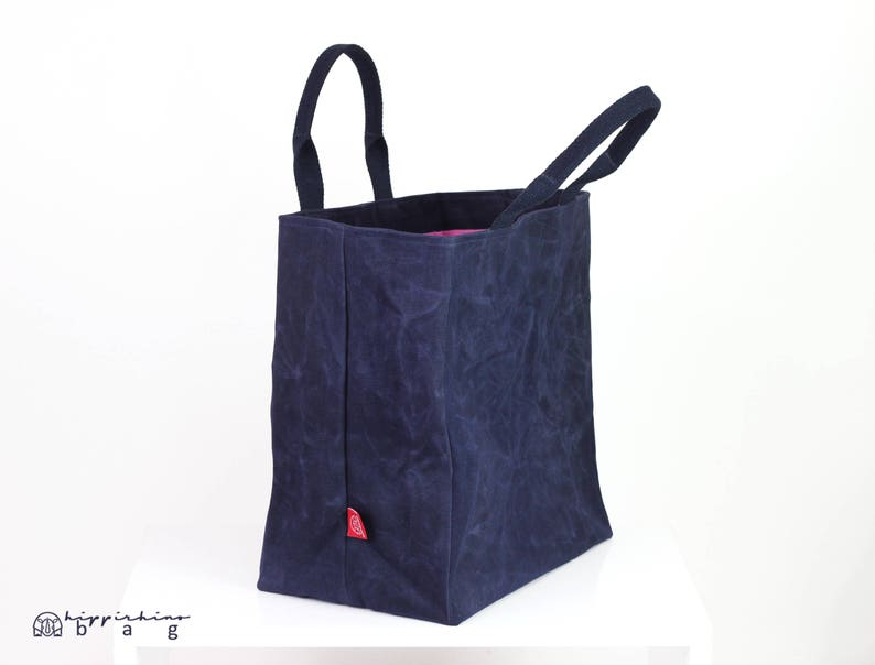 2f976ba97 Extra large waxed canvas reusable grocery bag cotton handle
