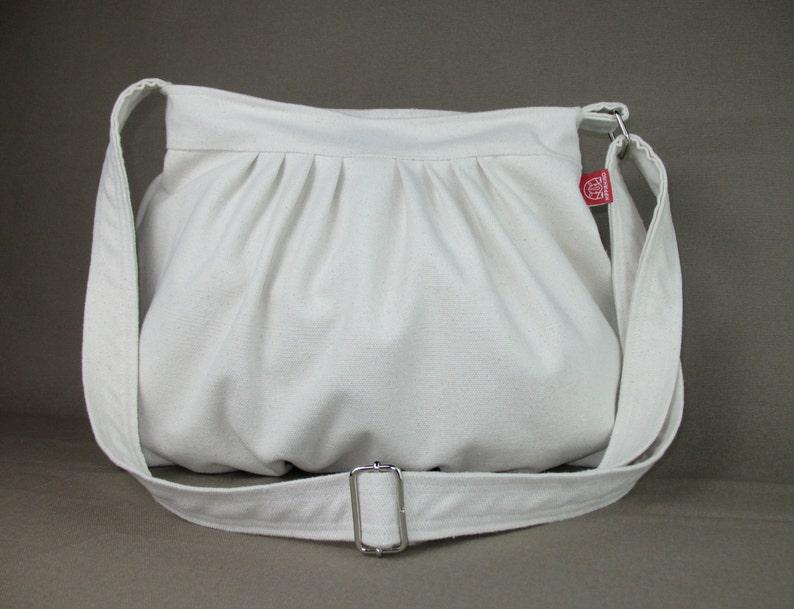 6ece175798 Cream Color White Canvas Purse Bag Pleated Bag Washable Daily