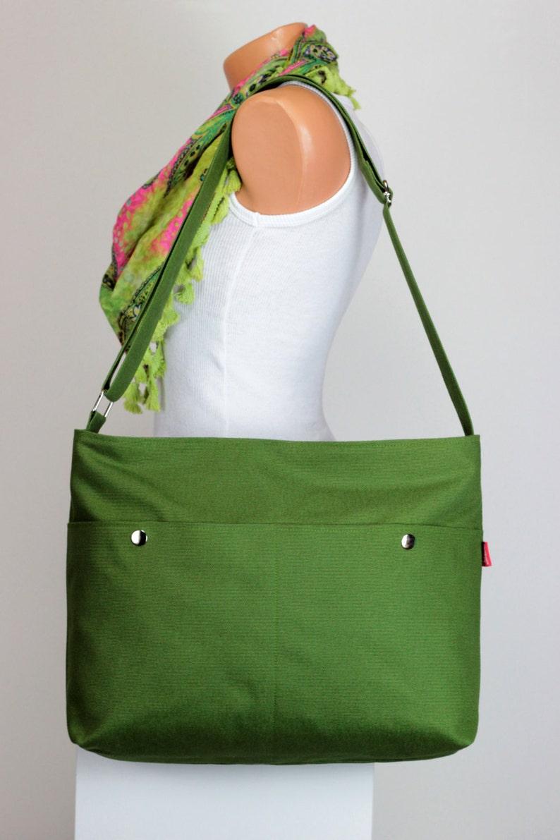 b748f5b4e6 Green Messenger Bag Large Pocket Unisex College Bag Washable