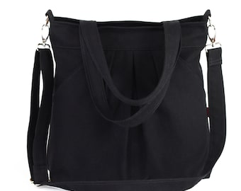 Large Black Shoulder Crossbody Bag Double Straps Washable Cotton Canvas Diaper Hobo Tote Purse Day Bag Gift Weekender Travel Bag for Women