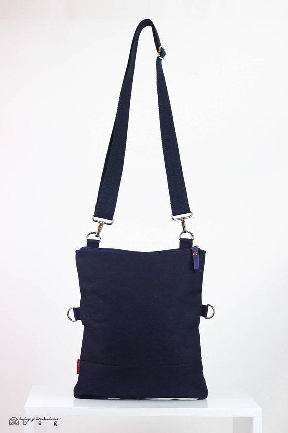 4facb0b64a3b Small Navy Blue Waxed Crossbody Foldover Tote Bag Dual-Use