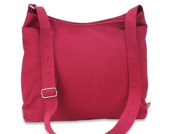 Maroon Hobo Bag Zipper Closure Large Side Pockets Messenger Tote Bag Travel Trip Bag Sling Soft Shoulder Crossbody Diaper Gift For Her