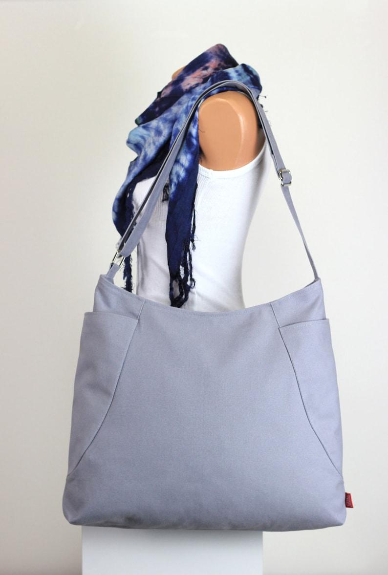 6487acc9b2 Light Gray Hobo Bag Two Big Pocket Large Bag Long Strap Canvas