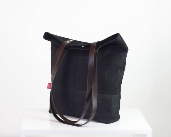 6080db285703 Black waxed canvas tote bag with leather strap shoulder use magnetic snap  closure fully cotton lined simply minimalist useful large tote bag
