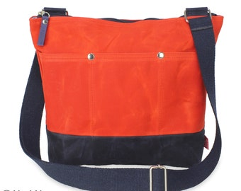 Two Color Waxed Tote Bag Long Webbing Cotton Strap Shoulder Crossbody Bag Fully Lined Outer Pocket Top Zippered Closure Stylish Gift for Her