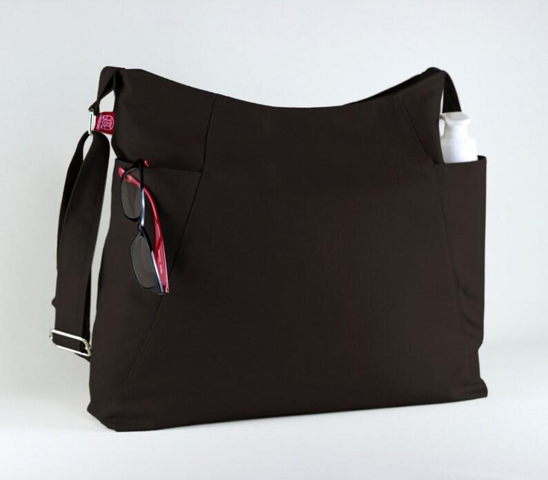 f4ff2ef59ef Dark Brown Hobo Bag Two Large Pocket Large Bag Long Strap | Etsy