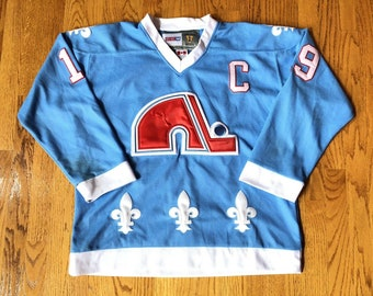 Joe Sakic Quebec Nordiques Sewn CCM Vintage NHL Hockey Jersey Mens 50 w   FIght Strap    starter colorado avalanche canada all star champion 24e7e457d