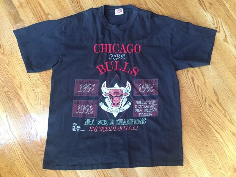 528eab804831 Vintage 1993 Chicago Bulls Three-Peat Championship T-Shirt | Etsy