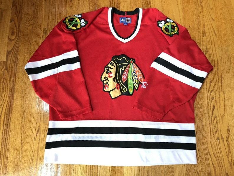 4d576996801 Vintage 1990s Starter Chicago Blackhawks Stitch NHL Home   Etsy