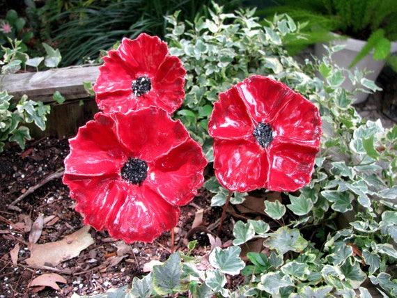 Rote Keramik Blumen Garden Kunst Ceramic Blumenrote Etsy
