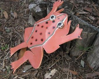 ceramic garden frog, frog decoration, pottery frog, glazed garden frog. yard art, orange dotted frog, frog to make you smile,glazed yard art