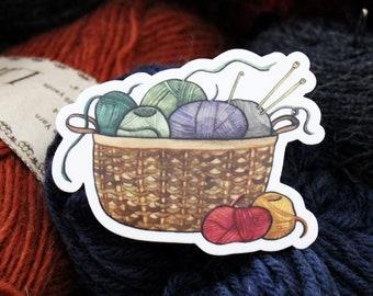 Basket Full of Yarn - Waterproof Vinyl Sticker
