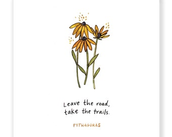 """Leave the Road, Take the Trails - Inspirational Quote - Archival Watercolor Art Print - 6 x 6"""""""