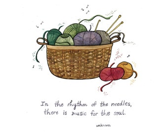 """Rhythm of the Needles - Knitting and Crochet Gift - Archival Watercolor Art Print 8 x 8"""""""