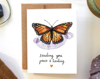 Sending You Peace & Healing - Monarch Butterfly - Sympathy, Recovery Watercolor Greeting Card