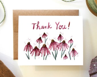 Thank You - Echinacea Flowers - Watercolor Greeting Card