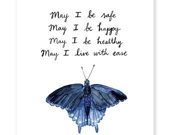 "May I Metta Butterfly - Lovingkindness Meditation - Archival Watercolor Art Print - 8 x 10"""