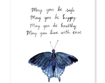 "May You Metta Swallowtail Butterfly - Lovingkindness Meditation - Archival Watercolor Art Print - 8 x 10"""