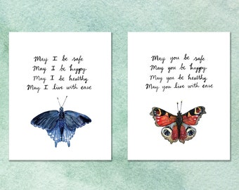"""Watercolor Art Print Set: May You and May I Be Safe, Happy, Healthy - Lovingkindness Blessing - Metta Prayer - Two 8 x 10"""" Archival Prints"""
