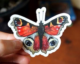 Peacock Butterfly - Clear Waterproof Vinyl Sticker
