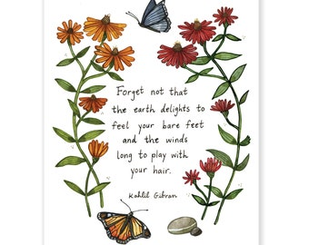 """The Earth Delights To Feel Your Bare Feet - Inspirational Kahlil Gibran Quote - Archival Watercolor Art Print - 8 x 10"""""""