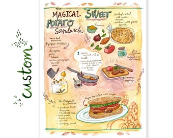 Custom Watercolor Recipe Painting - 2 Size Options