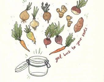 Root Veggies - art print