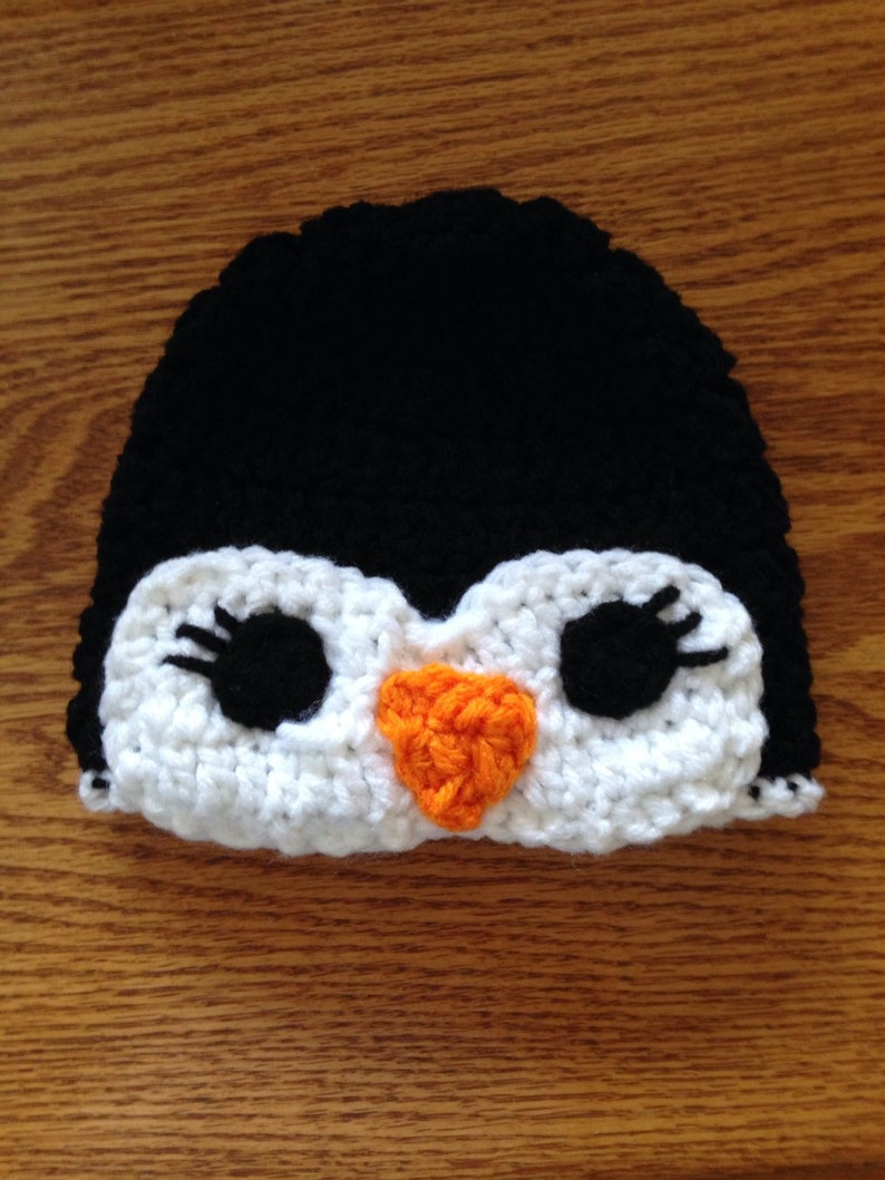 19fc482d0 Penguin Hat - Handmade Hat - Character Hat - Happy Feet Inspired Hat -  Costume Hat - Winter Hat - Gifts for Kids - Crochet Hat