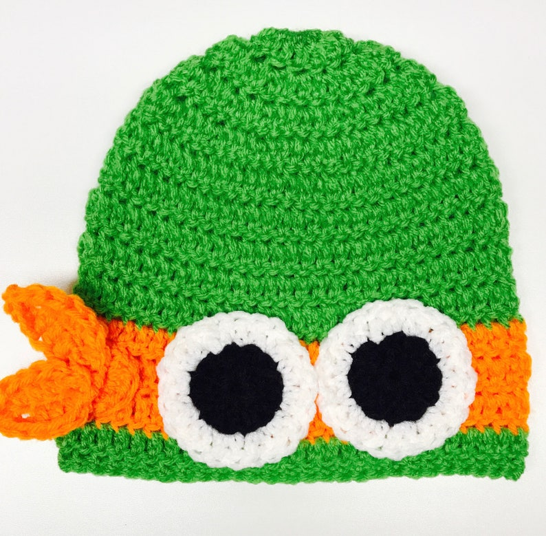 d6dec1abc Ninja Turtle Inspired Hat - Michaelangelo Inspired Hat - Handmade Hat  -Costume Hat -Winter Hat - Gifts for Kids -Crochet Hat - Character Hat