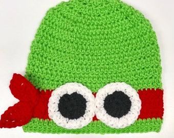Ninja Turtle Inspired Hat - Rafael Inspired Hat - Handmade Hat -Costume Hat -Winter Hat - Gifts for Kids -Crochet Hat - Character Hat