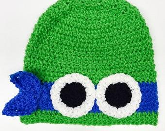 Ninja Turtle Inspired Hat - Leonardo Inspired Hat - Handmade Hat -Costume Hat -Winter Hat - Gifts for Kids -Crochet Hat - Character Hat
