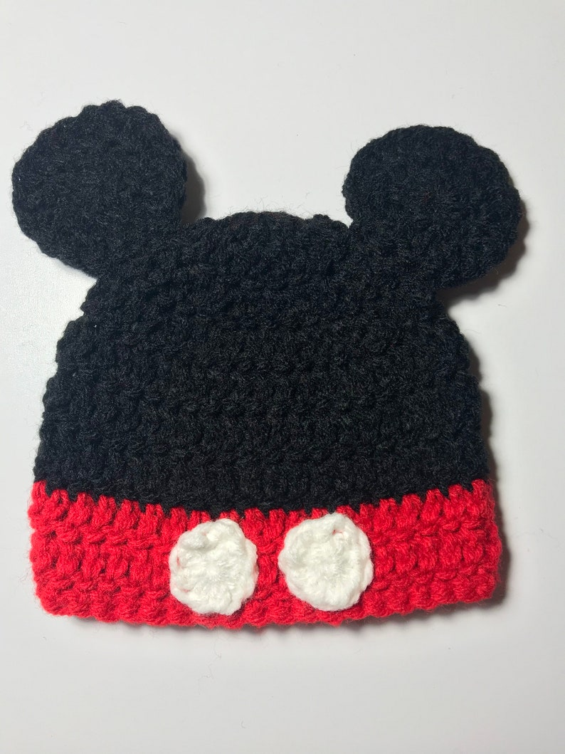 6984e4965 Mickey Mouse Inspired Hat - Handmade Hat - Character Hat - Costume Hat -  Winter Hat - Gifts for Kids - Crochet Hat