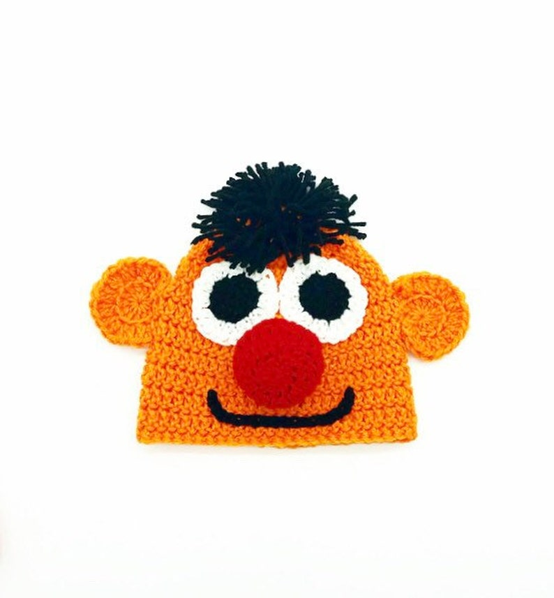 a9de419db Ernie Inspired Hat - Handmade Hat - Character Hat - Costume Hat - Winter  Hat - Sesame Street Inspired Hat - Gifts for Kids - Crochet Hat