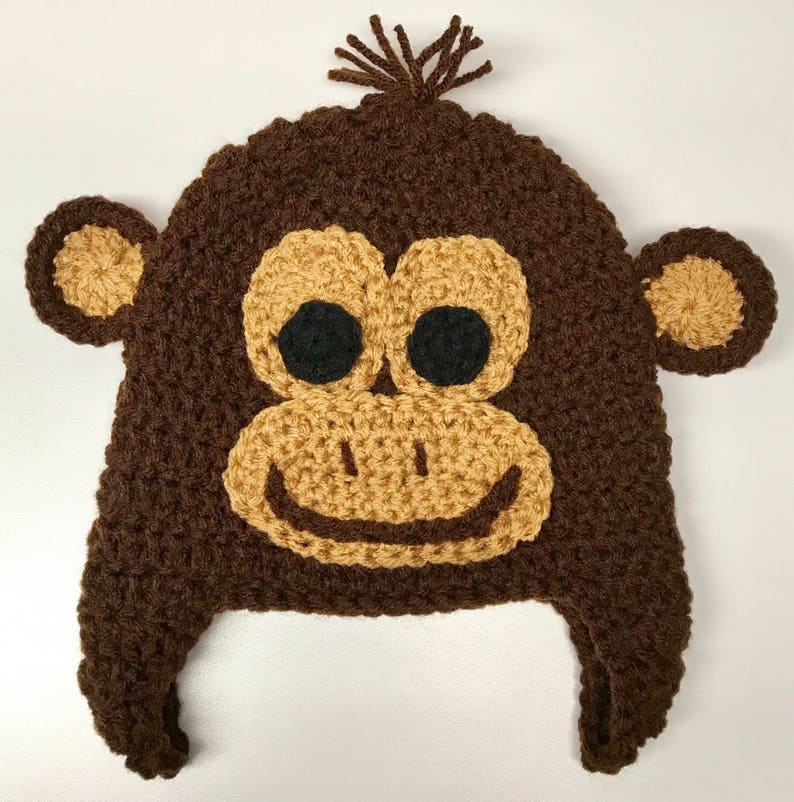 e761bf8d0 Curious George Inspired Hat - Handmade Hat - Costume Hat - Character Hat -  Crochet Hat - Winter Hat - Gifts for Kids - Monkey Hat