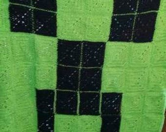 Minecraft creeper handmade crochet blanket