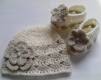 Crochet Pattern Baby Hat and Baby Booties, PDF file #27, beanie, gift, baby shower, flower