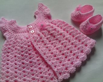 Crochet Baby Dress and Baby Booties Pattern tutorial PDF file