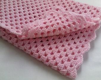 Crochet PATTERN Baby Blanket tutorial, pink baby blanket PDF file