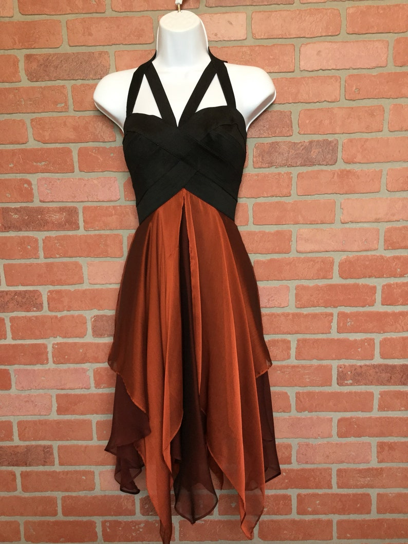 80's Cache Dress size medium black bustier type top with image 0