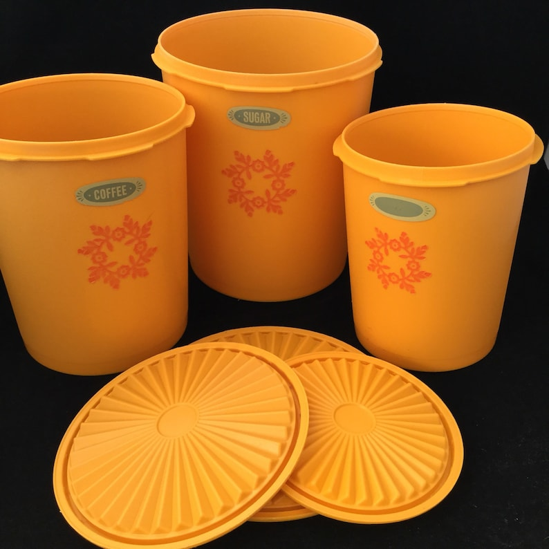 Vintage Tupperware canisters set 3 pieces yellow gold HG1 image 0