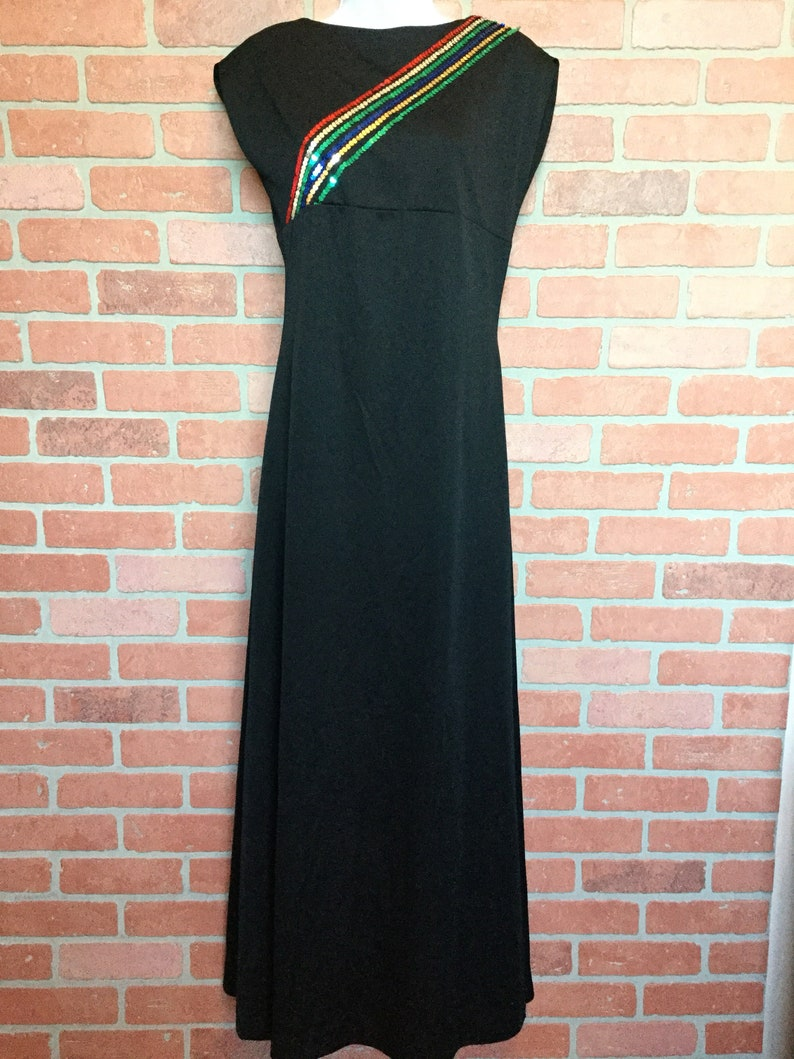 70s 80s long formal dress by Hob Nobber Naturally black with image 0