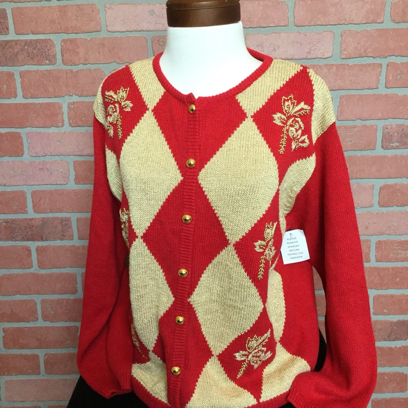 dd12b7367c41 Vintage Cardigan Sweater from Dressbarn red and gold Argyle | Etsy